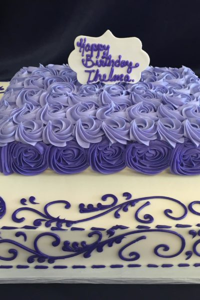 Woman Birthday Cake Purple Blooms