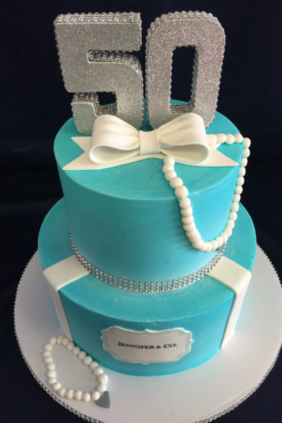Woman Birthday Cake Tiffany Blue